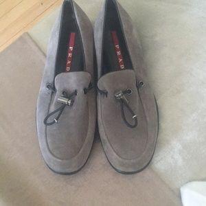 NEW PRADA Logo Gray Suede Adjustable Comfy Loafers